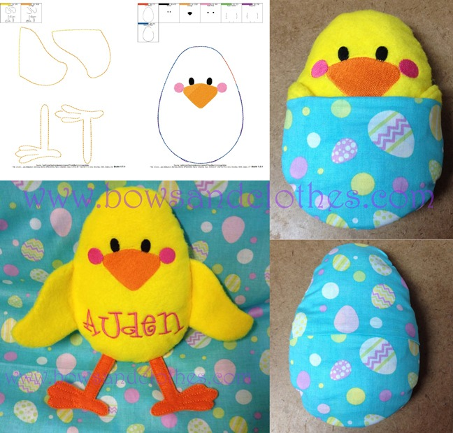 Chick In Egg Stuffie Bows And Clothes