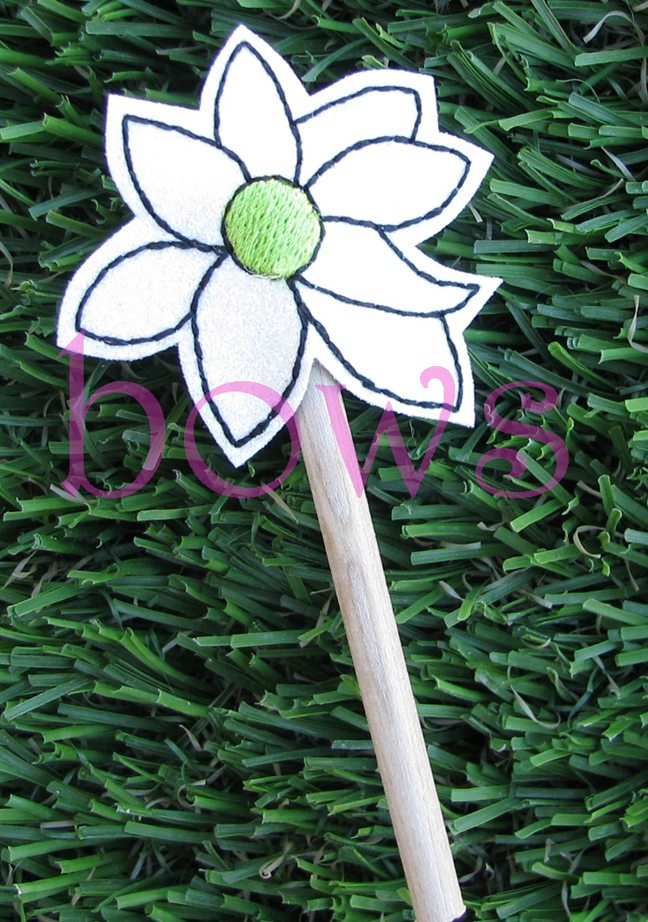 White Flower Wand Bows And Clothes
