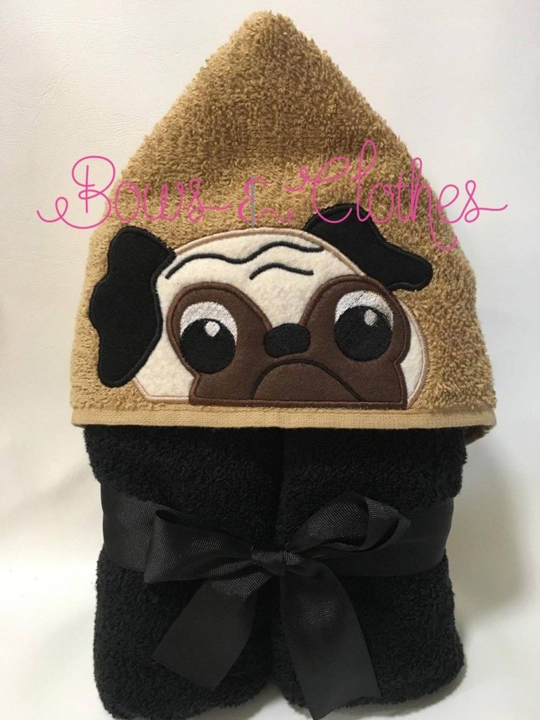 Pug Hooded Towel Bows And Clothes