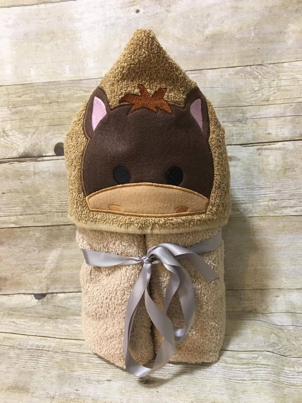 Baby Horse Hooded Towel Bows And Clothes