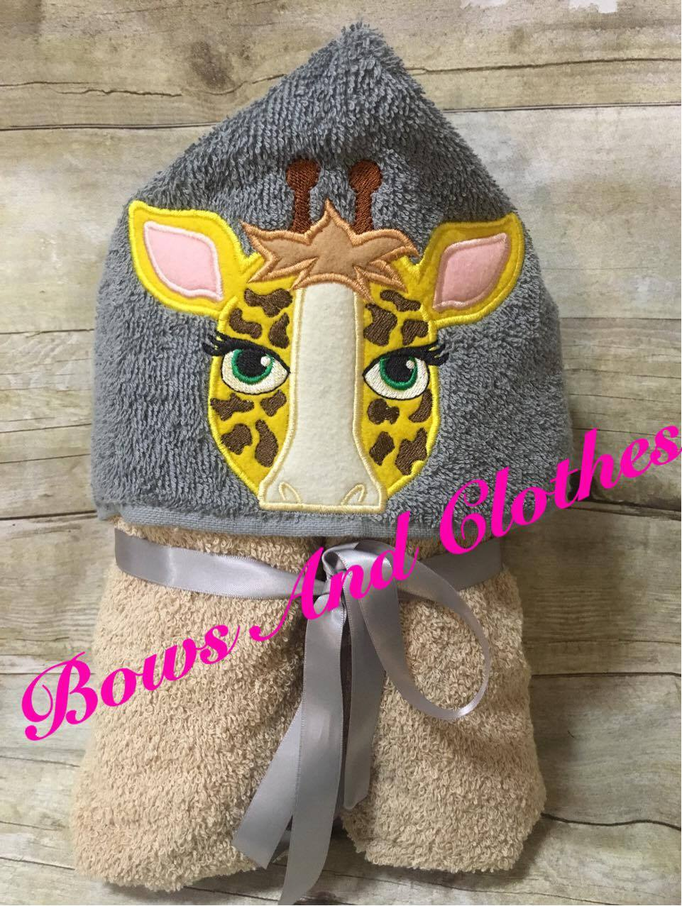 Giraffe Peeker Hooded Towel Bows And Clothes