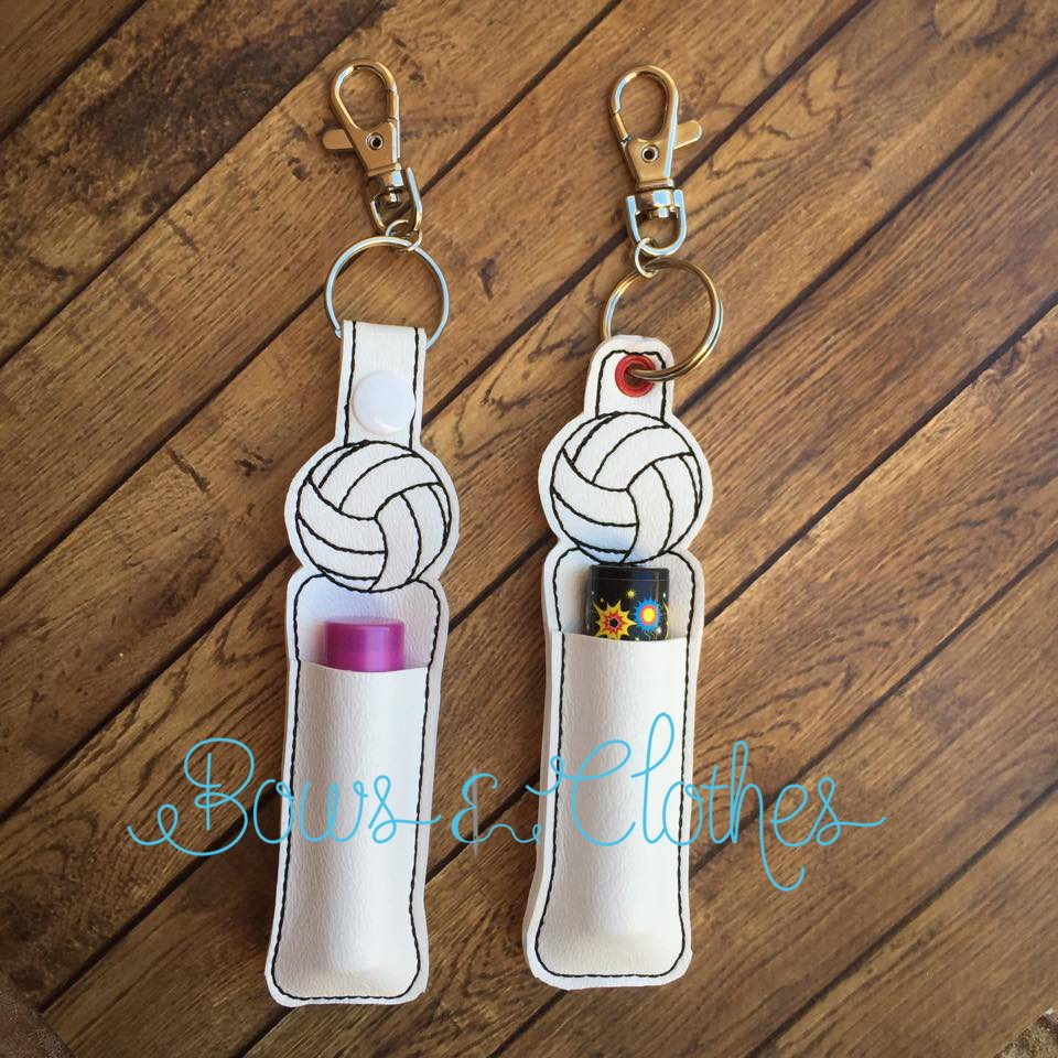 volleyball lip balm holder  u2013 bows and clothes