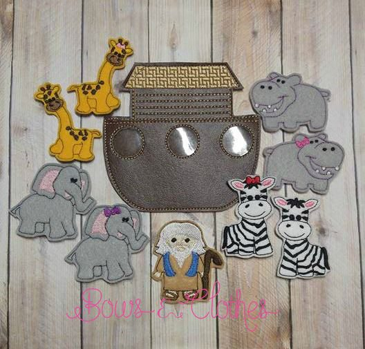 Noah S Ark Finger Puppets Bows And Clothes