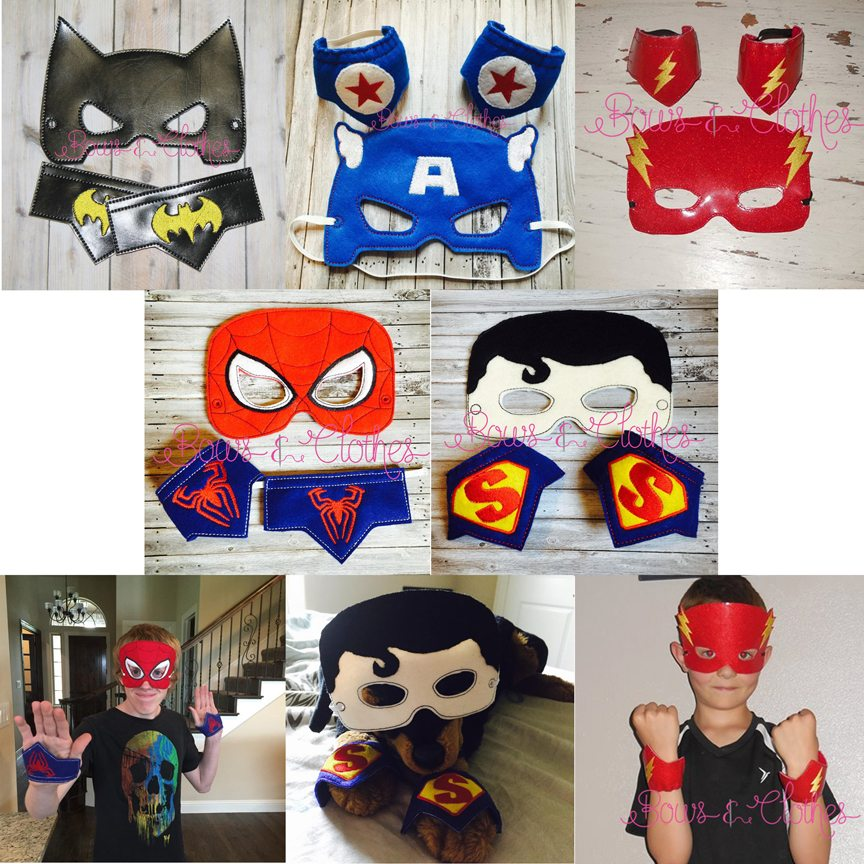 super hero mask and wristband set  u2013 bows and clothes