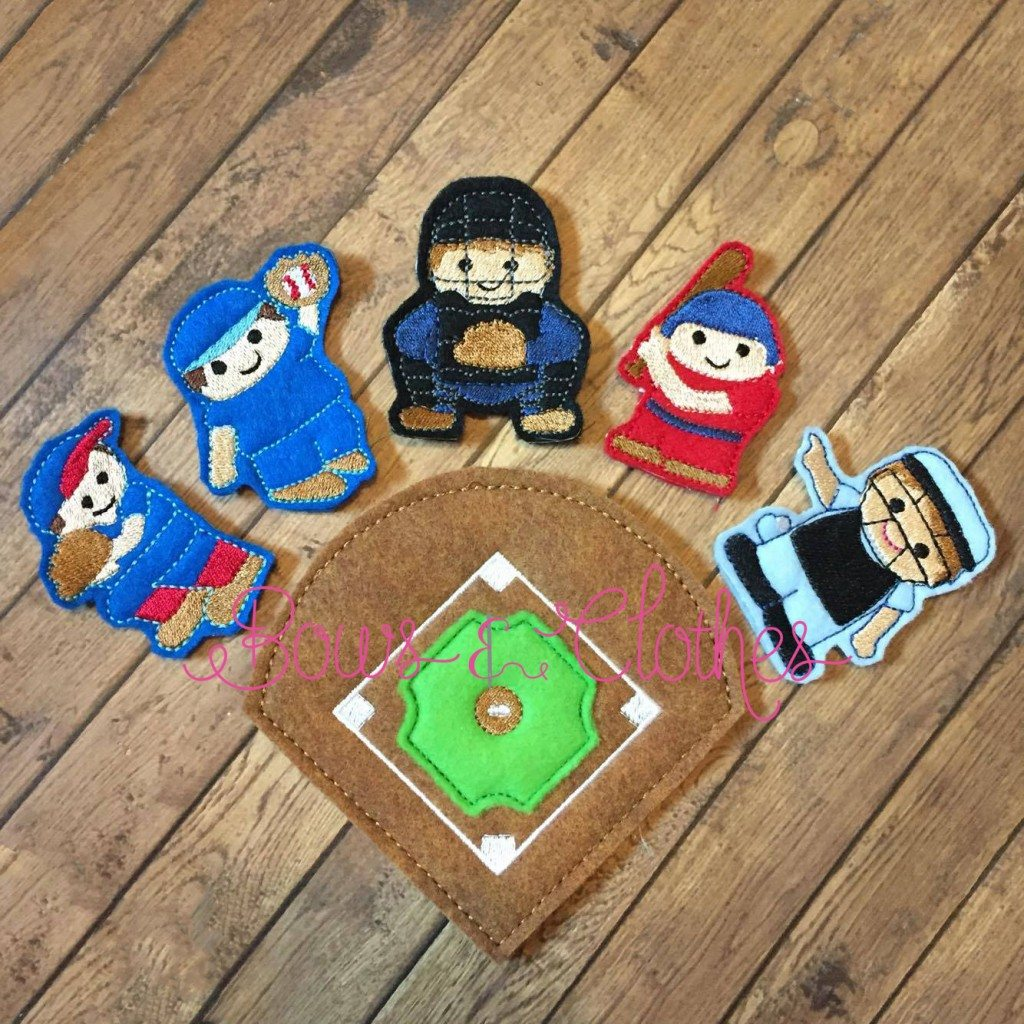 Baseball Finger Puppets Bows And Clothes