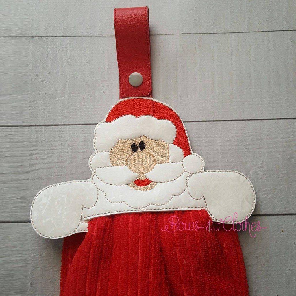 Santa Towel Topper Ith Bows And Clothes